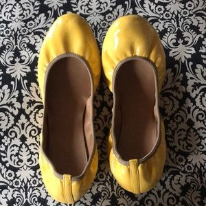 J. Crew yellow scrunch flats